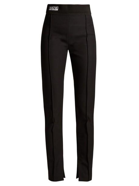 high jacquard black pants