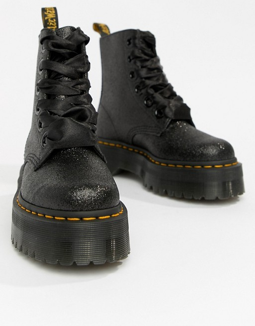 super cheap shades of factory outlets Dr Martens Molly Black Glitter Flatform Boots at asos.com