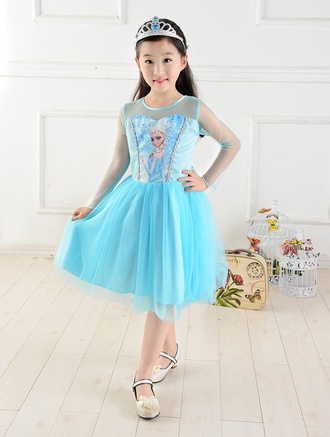 dress girl blue cute kids fashion girl's clothes elsa elsa frozen prom dress frozen gown long sleeveless prom dress