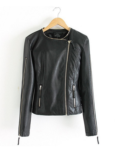Leather stylish jacket coat pu motorcycle jacket ladies leather black