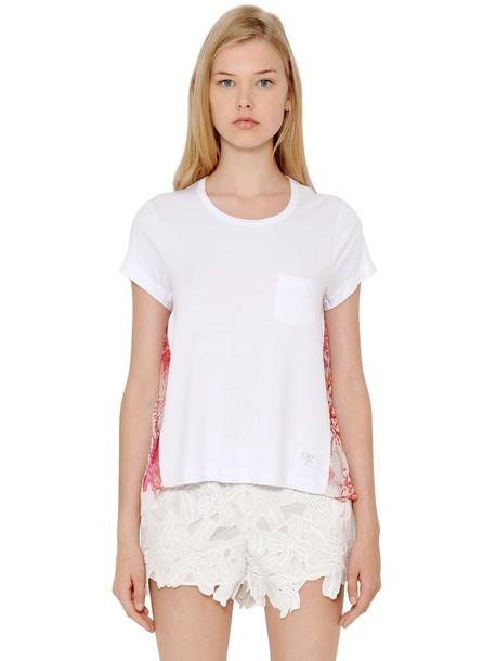 t-shirt shirt t-shirt silk white pink red top