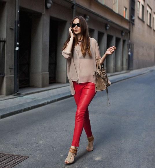 pants red leggings red leggings red pants shoes high heels ankle strap heels
