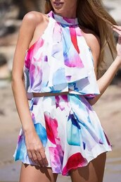 romper,zaful,spring,summer outfits,flashes of style,floral,summer,two-piece,boho
