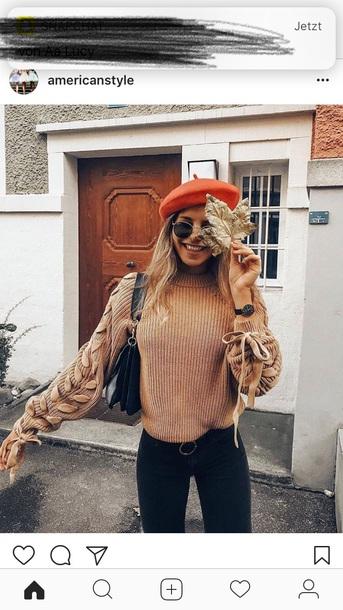 sweater beige sweater schleife