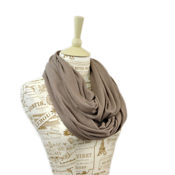 Taupe Infinity Scarf, Beige Scarf, Ribbed Knit Scarf, Womens Scarves, Sweater Knit CircleScarf, Tan Beige Loop Brown
