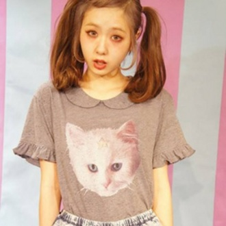 blouse harajuku pastel grunge grunge cats kitty pastel goth lolita top t-shirt creepy kawaii