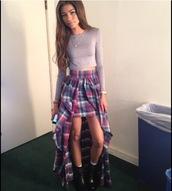 skirt,zendaya,plaid,plaid skirt,shirt,pin,purple,long and short skirt,t-shirt,high low skirt,long sleeve crop top,top