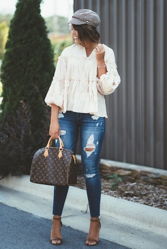 life & messy hair blogger top jeans shoes bag hat jewels louis vuitton bag handbag sandals high heel sandals ripped jeans cap