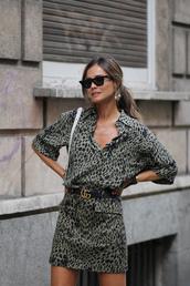 jewels,earrings,gold earrings,sunglasses,mini dress,leopard print,logo belt,shoulder bag