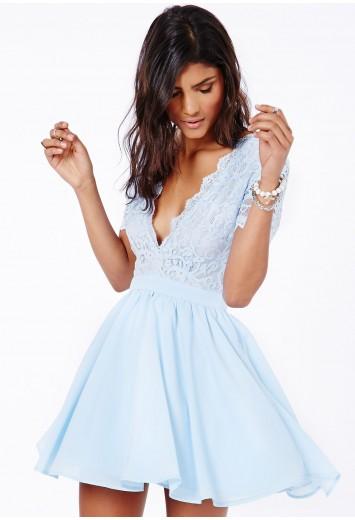 Aleena eyelash lace plunge neck puffball mini dress in baby blue