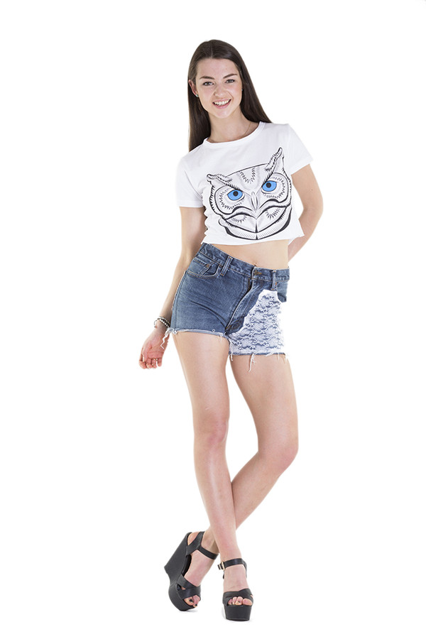 top crop tops crop t-shirt owl xirl summer High waisted shorts