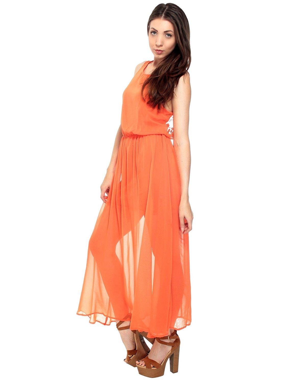 Casual Maxi Long Chiffon Overlay Sexy Open Back Dress Orange at ...