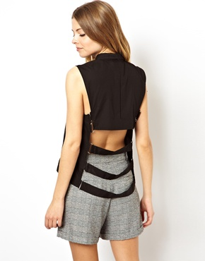 ASOS | ASOS Sleeveless Shirt with Cut Out Bondage Back at ASOS