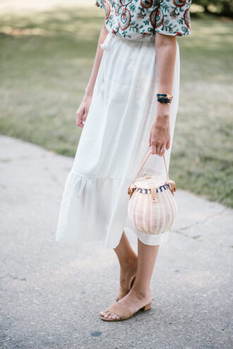 bag tumblr basket bag handbag dress midi dress sandals flat sandals mules nude sandals shoes