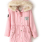 Pink faux fur hooded zipper embellished fleece inside military coat -shein(sheinside)