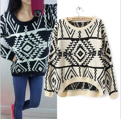 Women rhombic cells patterns asymmetrical sweater m002 · foreverfashion · online store powered by storenvy