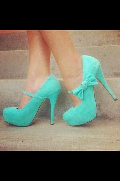 mint high heels bows shoes