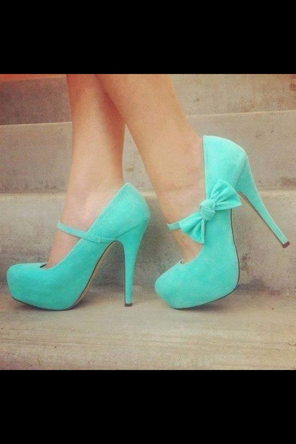 shoes mint heels bows turquoise