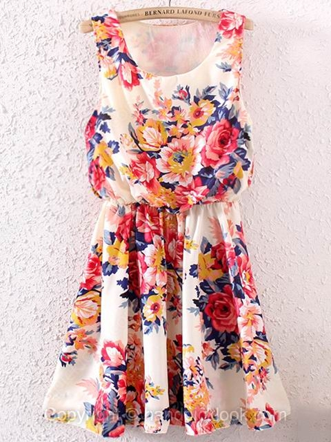 Red Round Neck Sleeveless Floral Print Pleated Dress - HandpickLook.com