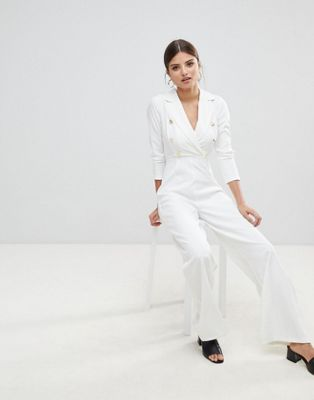 Missguided Gold Button Jumpsuit at asos.com