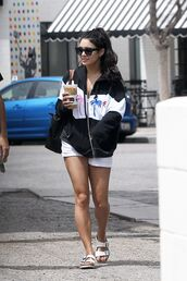 jacket,shorts,slide shoes,vanessa hudgens,streetstyle,shoes