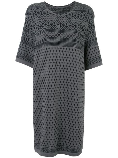 Zambesi - jacquard knitted dress - women - Cotton - One Size, Grey, Cotton