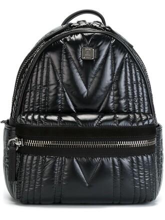 women backpack leather suede black bag