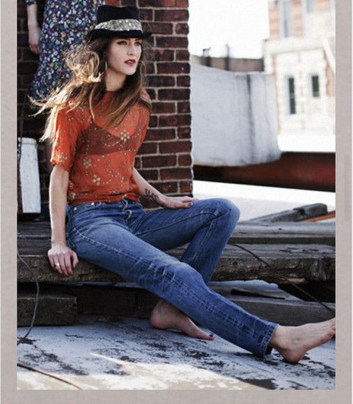 tangerine gold blouse worn-in jeans semi-faded semi-faded jeans ankle jeans skinny ankle jeans tangerine blouse sheer blouse tangerine shirt sheer top sheer shirt jeans short sleeve orange black hat jeweled hat hat