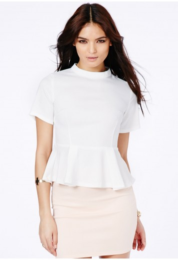 Blanca High Neck Peplum Top - Tops - Peplum Tops - Missguided