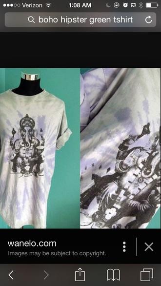t-shirt elephant boho blue purple