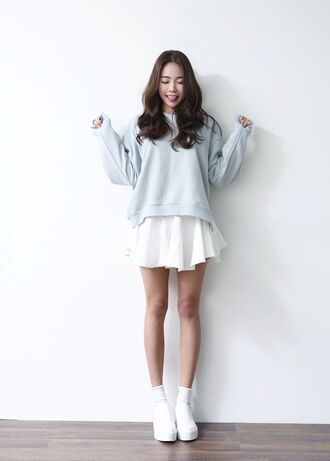 sweater light blue sweater ulzzang oversized sweater cute skirt jfashion jumper shoes outfit kfashion hoodie pale light blue korean fashion kpop baby blue oversized