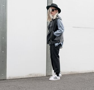 style lime light blogger hat leather jacket black pants tank top pants shirt jacket shoes bag