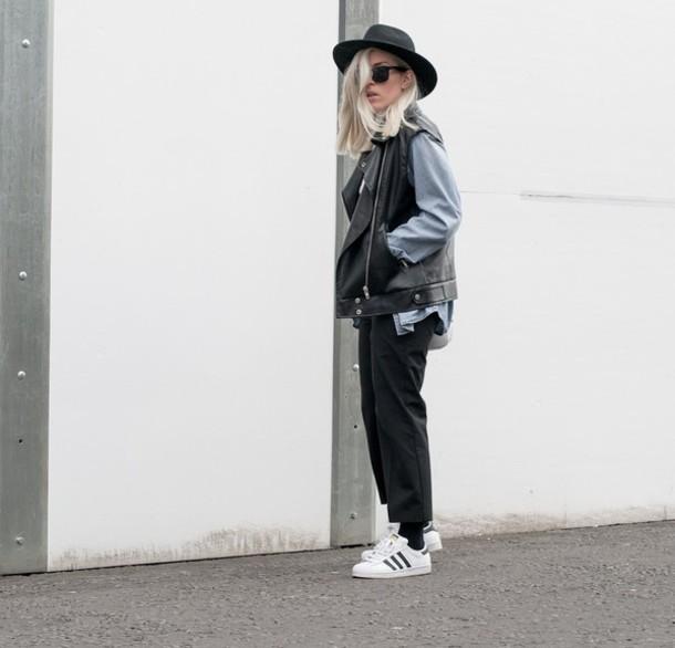 style lime light blogger hat leather jacket black pants tank top pants shirt jacket shoes bag