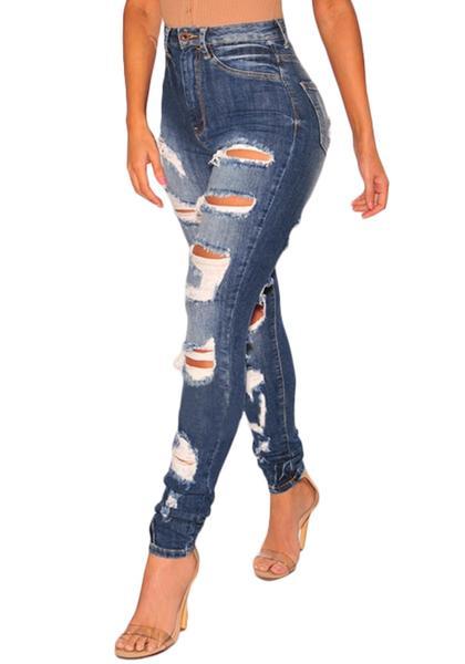 Dark Blue High-Waist Distressed Denim Skinny Jeans