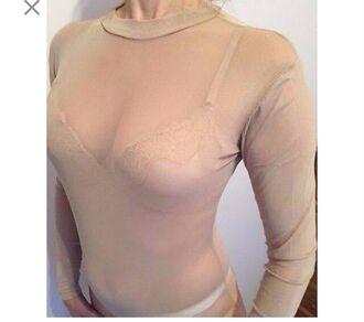 blouse bodysuit beige mesh sheer sexy nude