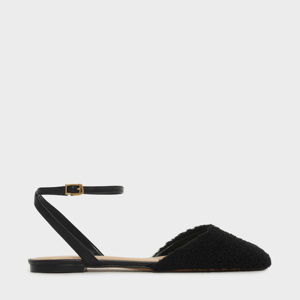 ankle strap flats black shoes