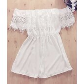 romper,white,off the shoulder,summer,fashion,trendy,beach,girly,rosewholesale.com