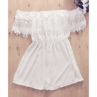 romper white off the shoulder summer fashion trendy beach girly rosewholesale.com