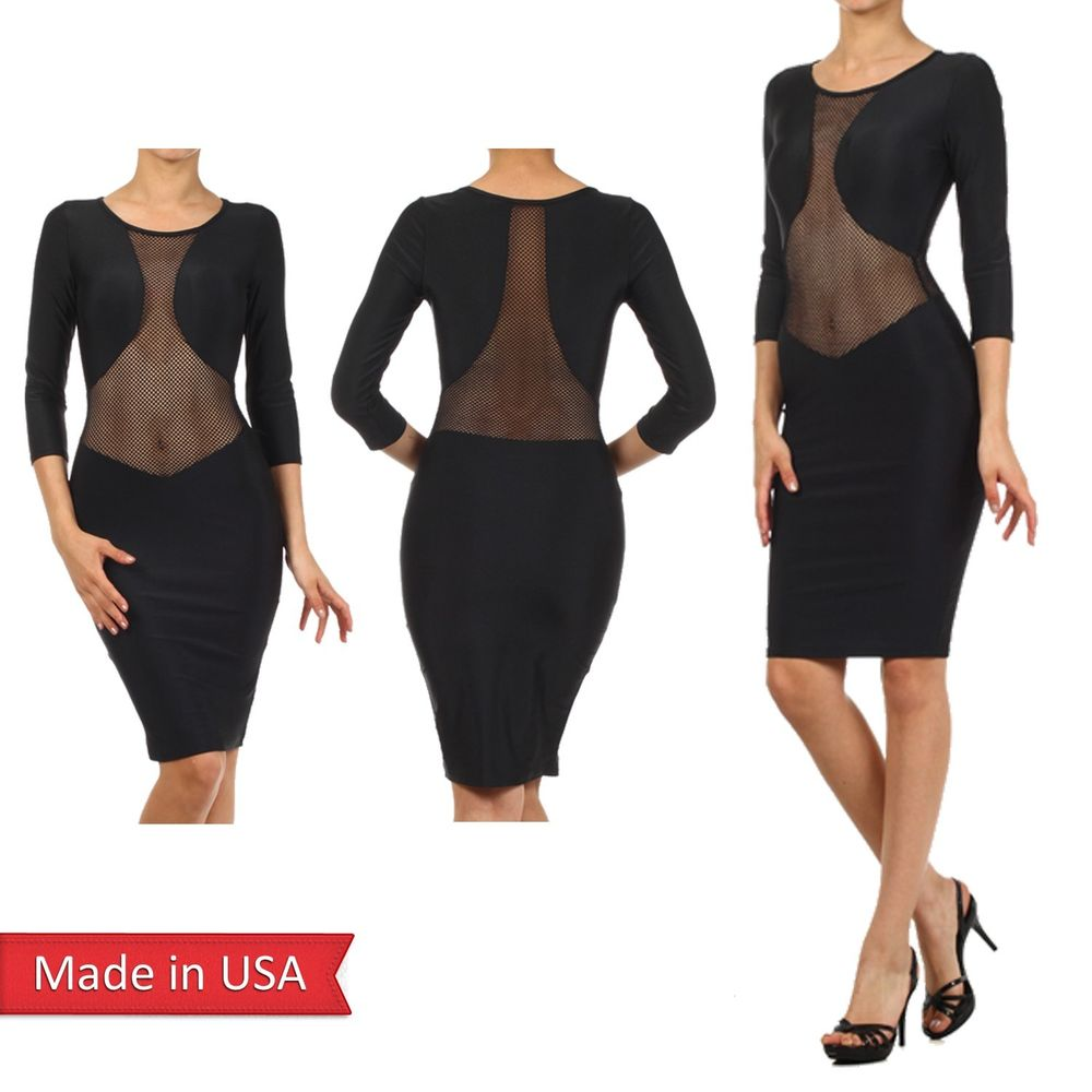 Women Sexy Fishnet Mesh Panel Detail Slim Fitted Bodycon 3/4 Sleeve Dress USA