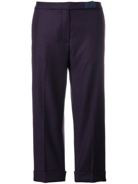 cropped women wool purple pink pants