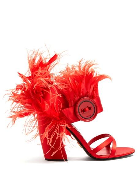 Prada embellished sandals satin red shoes