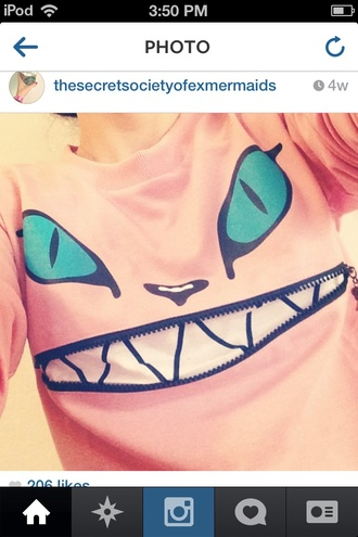 sweater cats sweatshirt pink crewneck crewneck sweater pink sweater cat sweatshirt cat sweater smile zipper sweater salmon cat eye turquoise