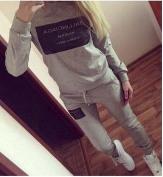 jumpsuit grey black sweater joggers joggers pants two-piece matching set