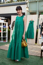 dress,long dress,green dress,bag,shoes