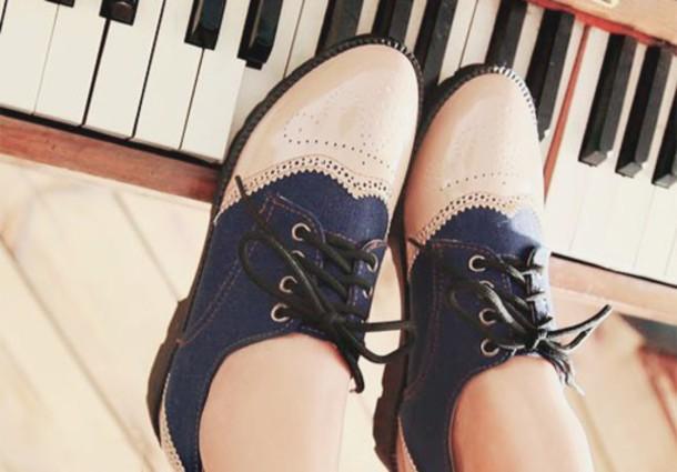 shoes black lace blue ankle shoes