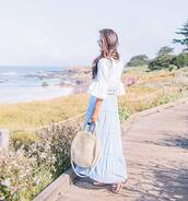 top,skirt,blue skirt,tumblr,off the shoulder,off the shoulder top,white top,bell sleeves,bag,round tote,tote bag,maxi skirt,long skirt,shoes