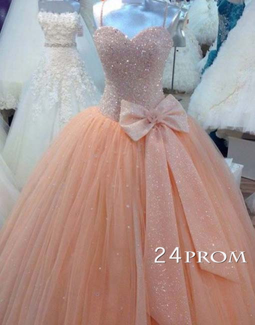 Custom made sweetheart tulle sequin long prom gown, prom dresses