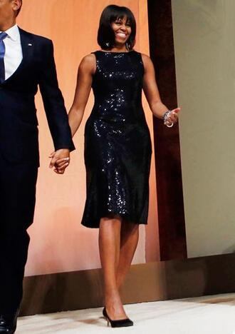dress sparkle black dress pumps michelle obama midi dress first lady outfits