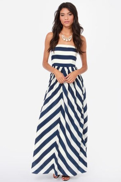maxi dress strapless bustier dress blue dress white dress stripes