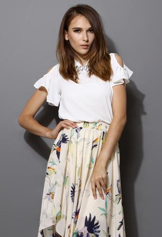 top white blouse blogger chiffon chic off the shoulder gem decor